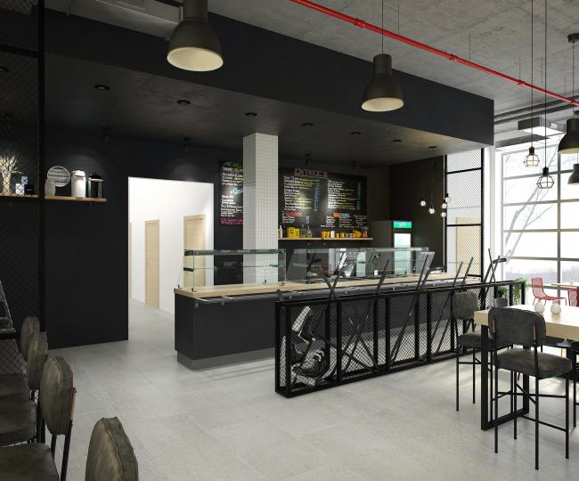 Хоккейная Академия «Авангард». Кафе гостиницы © Архитектурная мастерская Цыцина