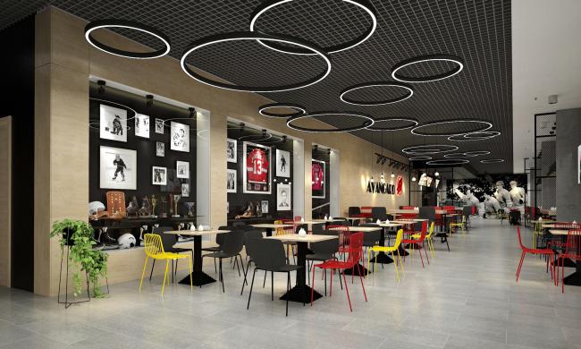 """Avangard"" Hockey Academy. The arena cafe © Sergey Tsytsin Architectural Studio"