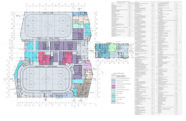 Хоккейная Академия «Авангард». План 1 этажа © Архитектурная мастерская Цыцина