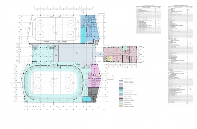 """Avangard"" Hockey Academy. Plan of the second floor © Sergey Tsytsin Architectural Studio"