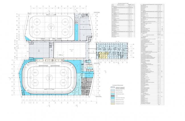 Хоккейная Академия «Авангард». План 3 этажа © Архитектурная мастерская Цыцина
