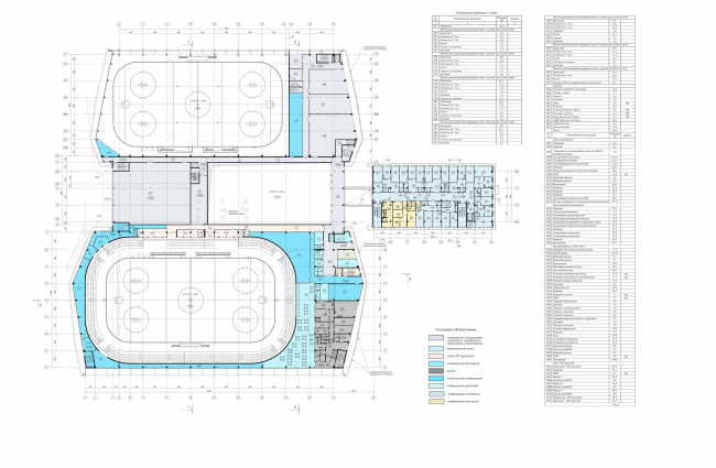 """Avangard"" Hockey Academy. Plan of the third floor © Sergey Tsytsin Architectural Studio"
