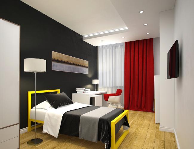 """Avangard"" Hockey Academy. Hotel room © Sergey Tsytsin Architectural Studio"