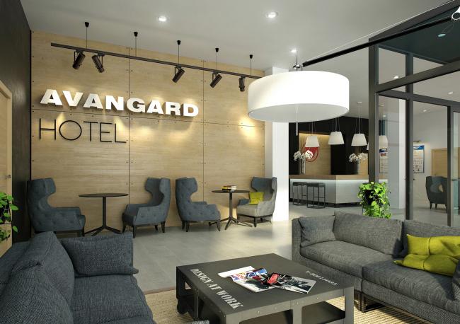 """Avangard"" Hockey Academy. Hall of the hotel © Sergey Tsytsin Architectural Studio"