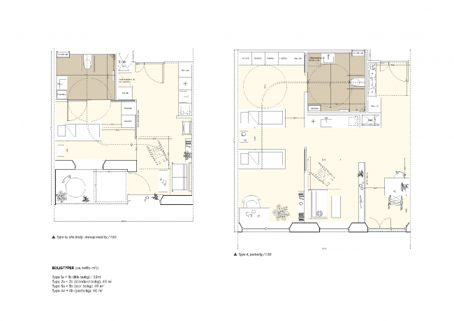 Future Sølund. План квартиры. Изображение: C.F. Møller Architects и Tredje Natur с сайта www.detnyesoelun.dk