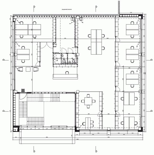 План второго этааж. Штаб-квартира Solarcompany в городе Хёсден-Золдер © WV architecten