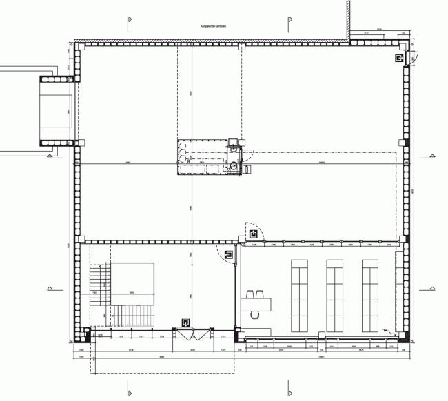 План первого, складского, этажа. Штаб-квартира Solarcompany в городе Хёсден-Золдер © WV architecten