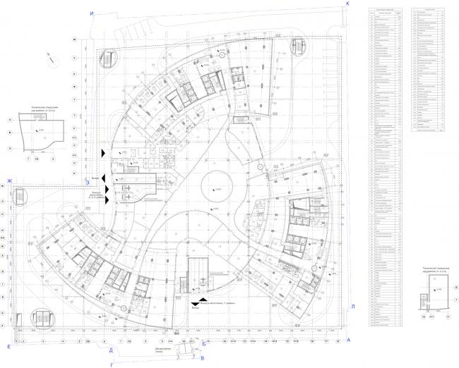"""Multifunctional complex """"Lotus"""". Plan of the 1st floor © SPEECH"""