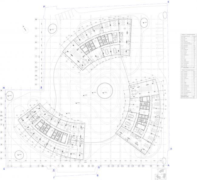 """Multifunctional complex """"Lotus"""". Plan of the 2nd floor © SPEECH"""