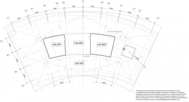 """Multifunctional complex """"Lotus"""". Plan of the usable roof © SPEECH"""