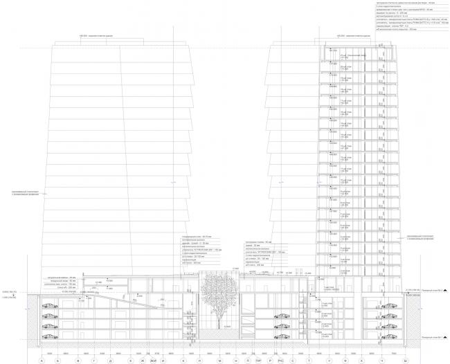 Многофункциональный комплекс «Лотос». Разрез © SPEECH