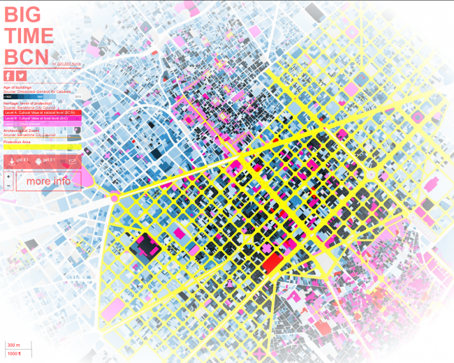 "Карта возрастов застройки Барселоны © команда ""300.000 km/s"""