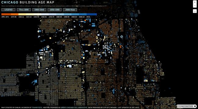 Карта Чикаго © Shaun Jacobsen, Transitized