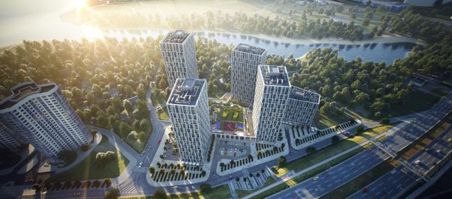 """Slavutich"" housing project. Birds-eye view. Project, 2016 © Arkhimatika"