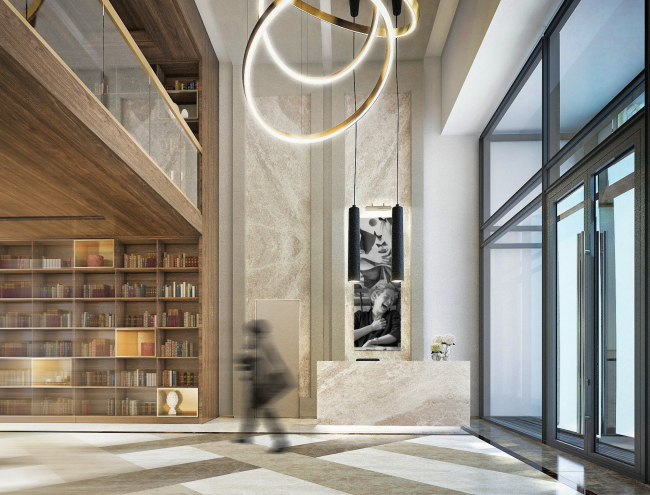 Multifunctional residential complex in Ekaterinburg. Interior of the entrance lobby. Project, 2016 © T+T Architects