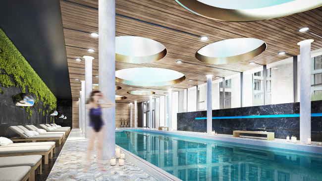 Multifunctional residential complex in Ekaterinburg. Pool. Project, 2016 © T+T Architects