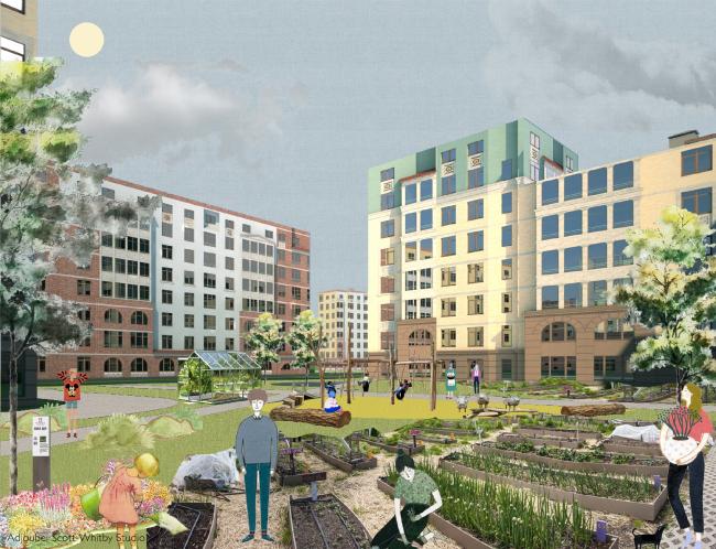 Концепция развития общественных пространств ЖК «Пятницкие кварталы» © Adjoubei Scott-Whitby Studio