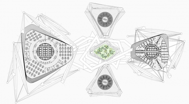 The skyscraper project for Evolo-2016. Plan of the typical floor © Arch Group