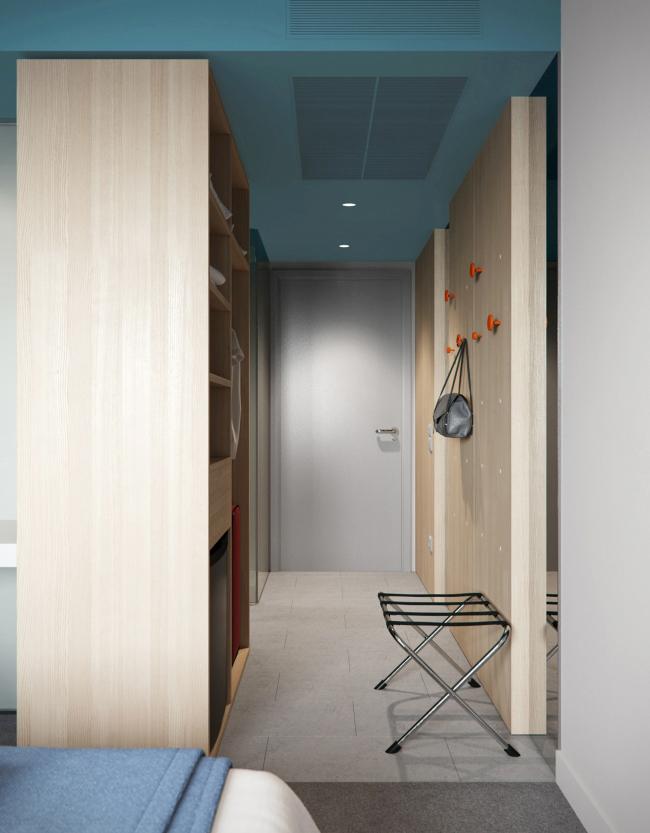 Интерьеры Smart номера гостиницы «Азимут». Визуализация, 2015 © ПРОформа