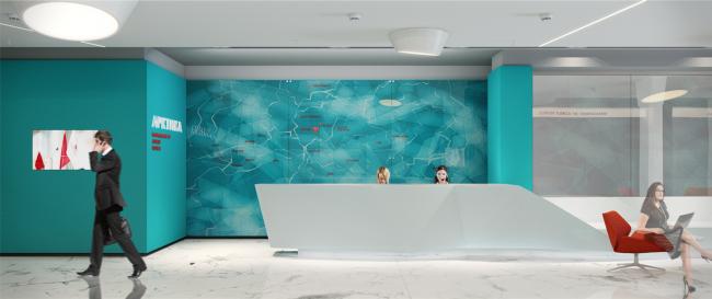 Холл бизнес-центра «Арктика» в гостинице «Азимут». Визуализация, 2014 © ПРОформа