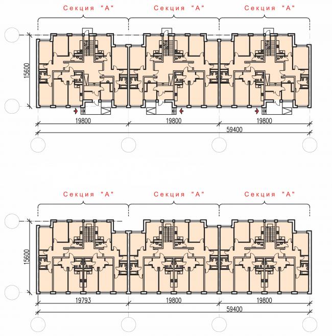 Жилой комплекс «Андерсен». Планы 1 и типового этажей © Архитектуриум