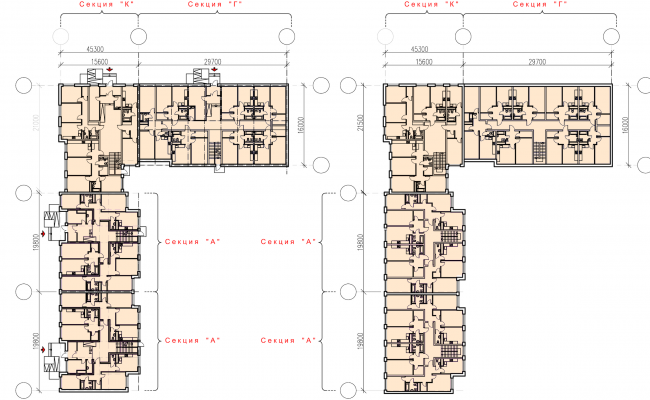 """Andersen"" residential complex. Plans of the first and typical floors © Arkhitekturium"