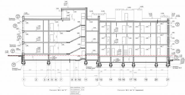 """Andersen"" residential complex. Section view © Arkhitekturium"