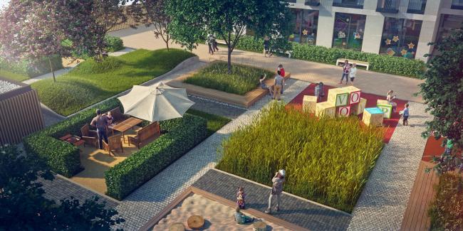 The housing project on the Malaya Ordynka Street. Organization of the yard. Project, 2016 © ADM
