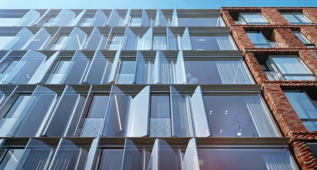 Жилой дом на Малой Ордынке. Фрагмент главного фасада. Вариант 2. Проект, 2016