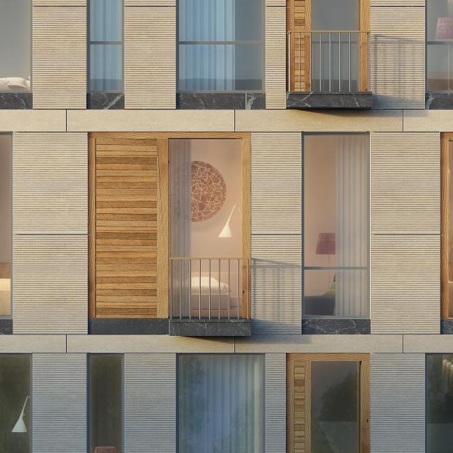 Жилой дом на Малой Ордынке. Фрагмент главного фасада. Проект, 2016