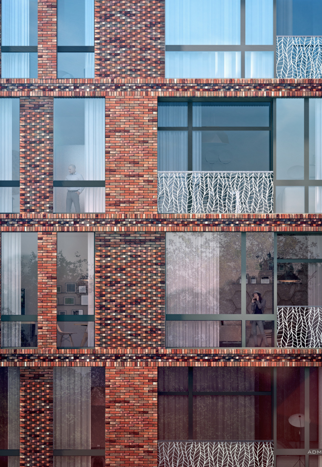 The housing project on the Malaya Ordynka Street. A fragment of the main facade. Version 2. Project, 2016 © ADM