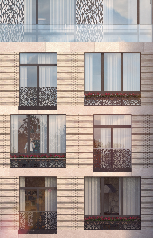The housing project on the Malaya Ordynka Street. A fragment of the main facade. Version 1. Project, 2016 © ADM