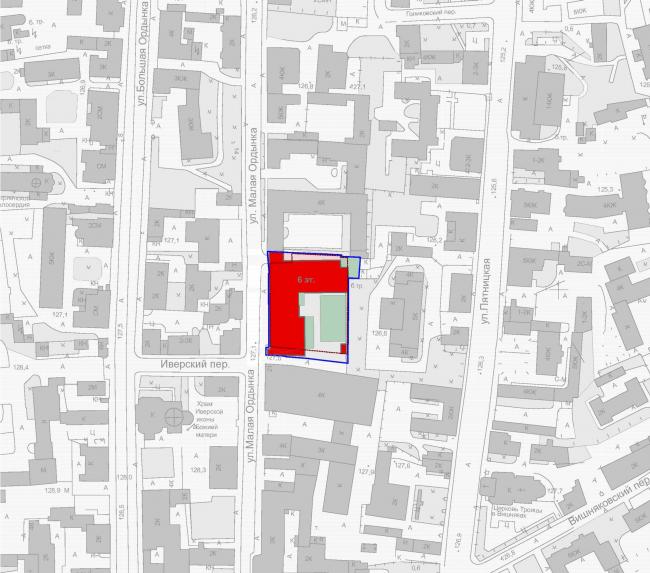 The housing project on the Malaya Ordynka Street. Location plan. Project, 2016 © ADM