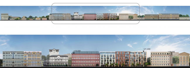 The housing project on the Malaya Ordynka Street. Facade. Version 1. Project, 2016 © ADM