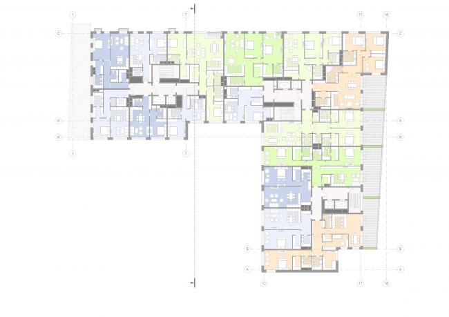Жилой дом на Малой Ордынке. План 2 этажа © ADM