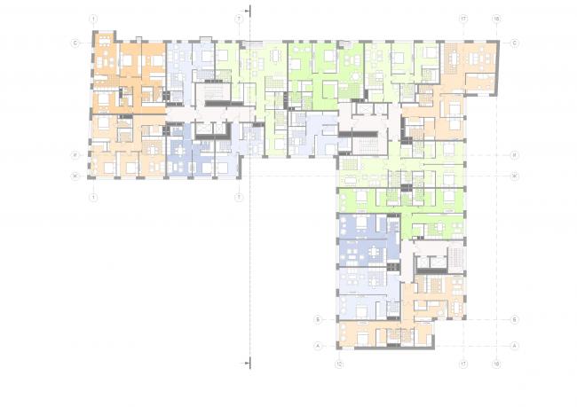Жилой дом на Малой Ордынке. План 3-5 этажей