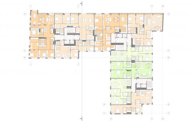 Жилой дом на Малой Ордынке. План 6 этажа