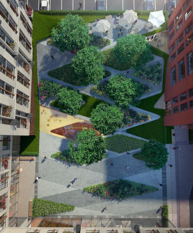 Residential project at Novoslobodskaya Street. Organization of the yard © ADM