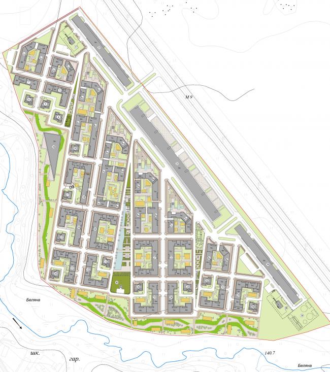 Жилой район «Вилладжио». Генеральный план. Проект, 2014 © Архитектуриум