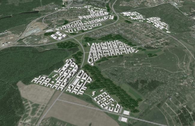 Town-planning concept in Nizhny Novgorod. 1st contest round. Master plan. Project, 2014 © Arkhitekturium