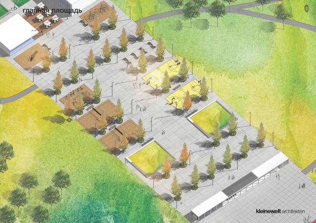 Главная площадь. Парк на Ходынском поле, проект 2015-2016 © Kleinewelt Architekten. Предоставлено ГКУ ОД «Мосгорпарк»