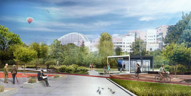 Малая входная группа. Парк на Ходынском поле, проект 2015-2016 © Kleinewelt Architekten. Предоставлено ГКУ ОД «Мосгорпарк»