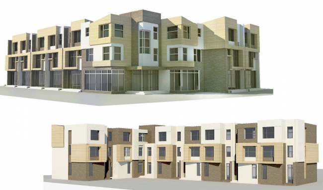 Концепция застройки территории малоэтажного жилого комплекса в Сестрорецке. Фасады. Проект, 2012 © Архитектуриум