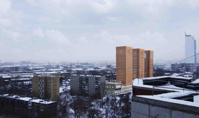 Multifunctional residential complex in Ekaterinburg. Project, 2016 © Arkhstroydesign