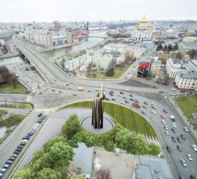 The project of organizing the Borovitskaya Square © AI Architects. Image courtesy by the press service of Moscow City Architecture Committee