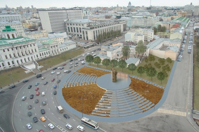 The project of organizing the Borovitskaya Square © Buromoscow. Image courtesy by the press service of Moscow City Architecture Committee