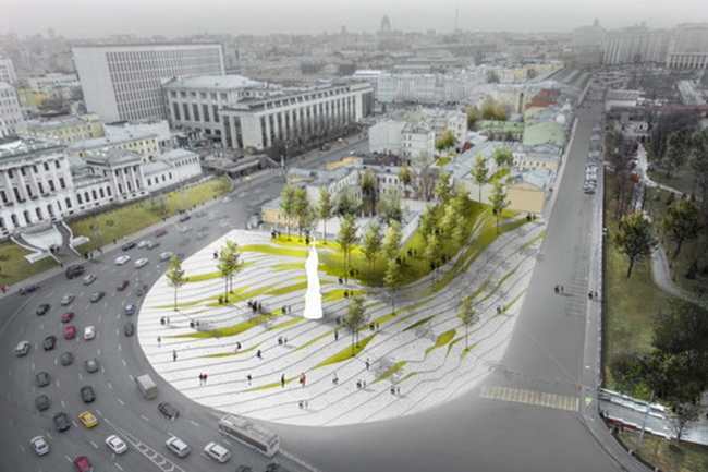 The project of organizing the Borovitskaya Square © Wall. Image courtesy by the press service of Moscow City Architecture Committee