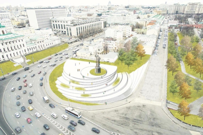 The project of organizing the Borovitskaya Square © Kleinewelt Architekten. Image courtesy by the press service of Moscow City Architecture Committee