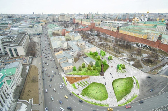 The project of organizing the Borovitskaya Square © Narodny Arkhitektor. Image courtesy by the press service of Moscow City Architecture Committee