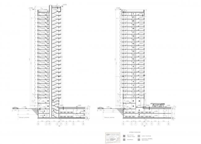 Многоквартирные дома на Комендантском проспекте. Разрезы © Евгений Герасимов и партнеры
